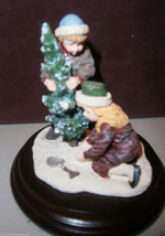 Dept. 56 inc. Christmas Figurine Two Children Planting Tree W/ Wood Base... - $9.89