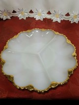 "VINTAGE Anchor Hocking Fire King Milk Glass GoldTrim Divided Serving Dish 9-1/2"" image 1"