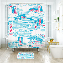 Flower Lilly Summer Watch Out Shower Curtain Waterproof & Bath Mat For Bathroom - $15.30+