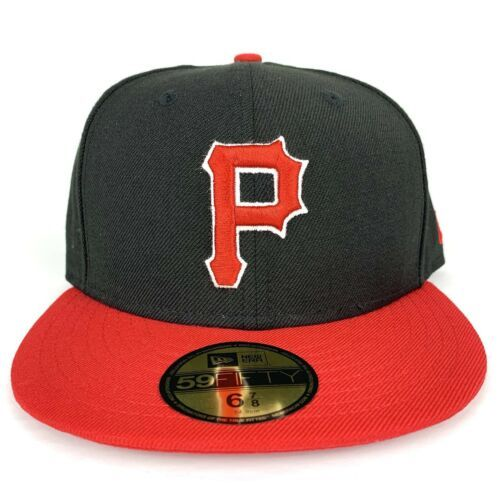 New Era Cap 59fifty Pittsburgh Pirates Hat Size 6 7/8 Fitted Black Red NEW