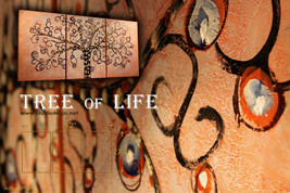 Pink Tree of Life Abstract Painting, Palette Kn... - $249.00