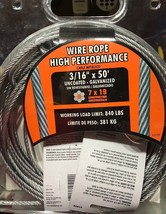 """IRONMAN Wire Rope High Performance Cable 3/16"""" x 50' - 840 Lb Working Lo... - $34.60"""