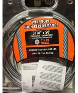 "IRONMAN Wire Rope High Performance Cable 3/16"" x 50' - 840 Lb Working Lo... - $34.60"