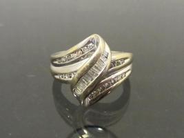 Estate Vintage 14k Solid WG Genuine Round & Baguette Diamond Ring Size 6.75 - $485.00