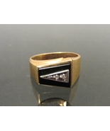 Vintage Mens 10K Solid Yellow Gold Black Onyx &... - $305.00