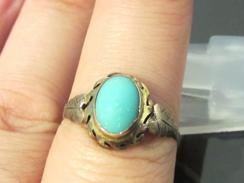 Antique Victorian 10K Solid Yellow Gold Natural Perisan Turquoise Ring size 5.5