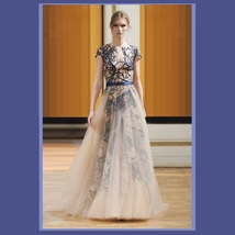 Sheer Voile Overlay Embroidery Lace Organza Red or Blue Princess Ball Prom Gown