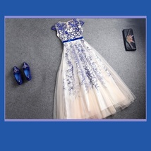 Sheer Voile Overlay Embroidery Lace Organza Red or Blue Princess Ball Prom Gown image 2
