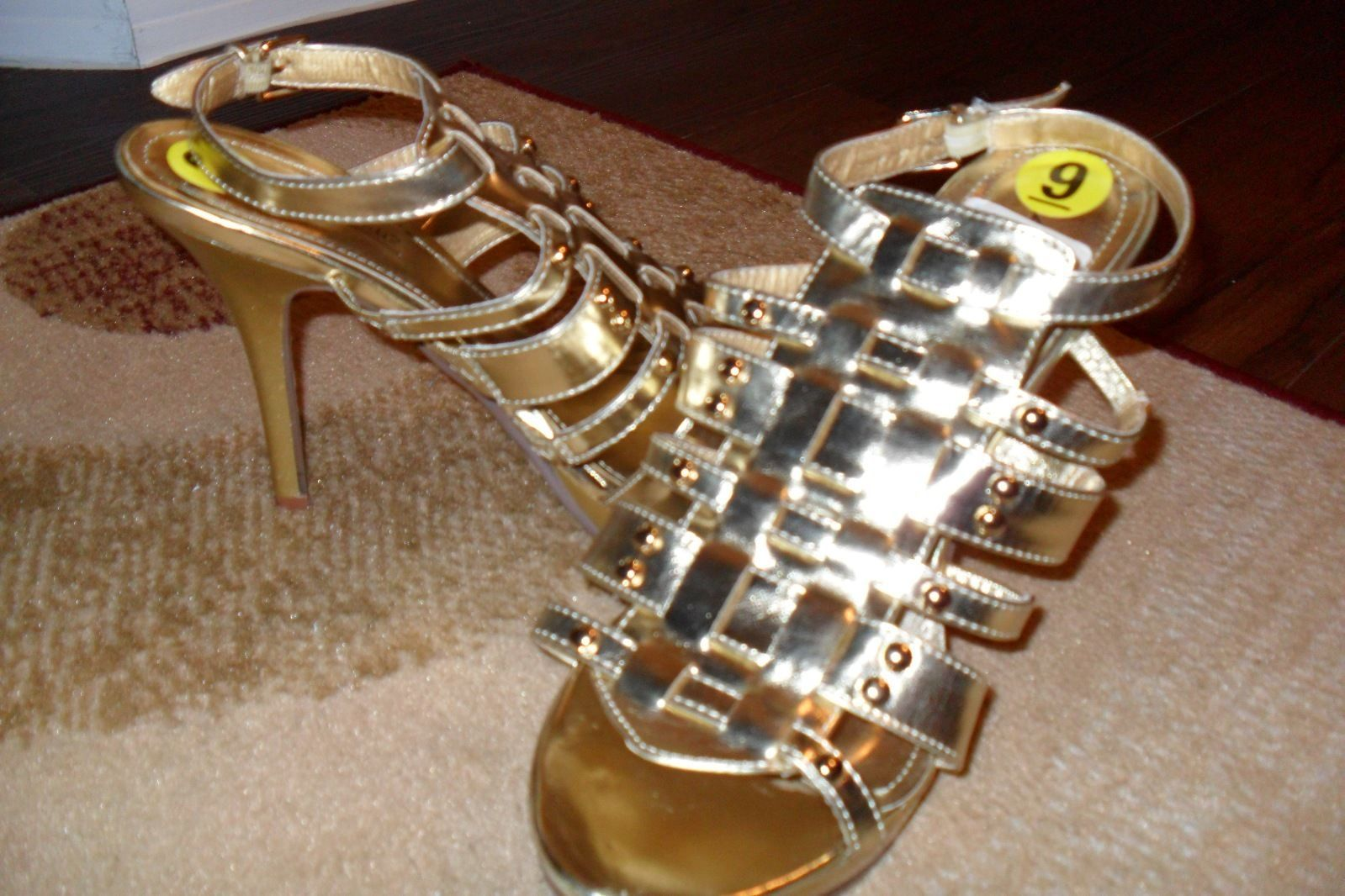 ANNE MICHELLE Survivor-13 Women's Gold Studded Detail Sandals Stilettos Size: 9