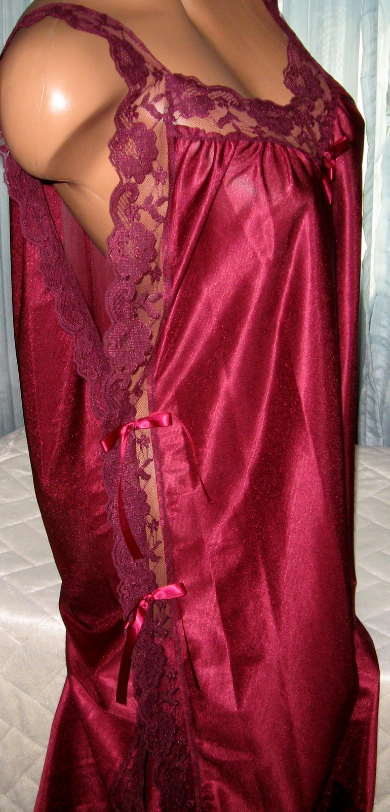Burgundy Nylon Lace Side Toga Style Long Nightgown L/XL Lingerie Sleepwear
