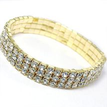 3 Line Gold Swarovski Rhinestone Stretch Bracelet - $13.99