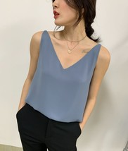 Silver Blue White Sleeveless Chiffon Tank V-Neck Sleeveless Chiffon Casual Tops image 4