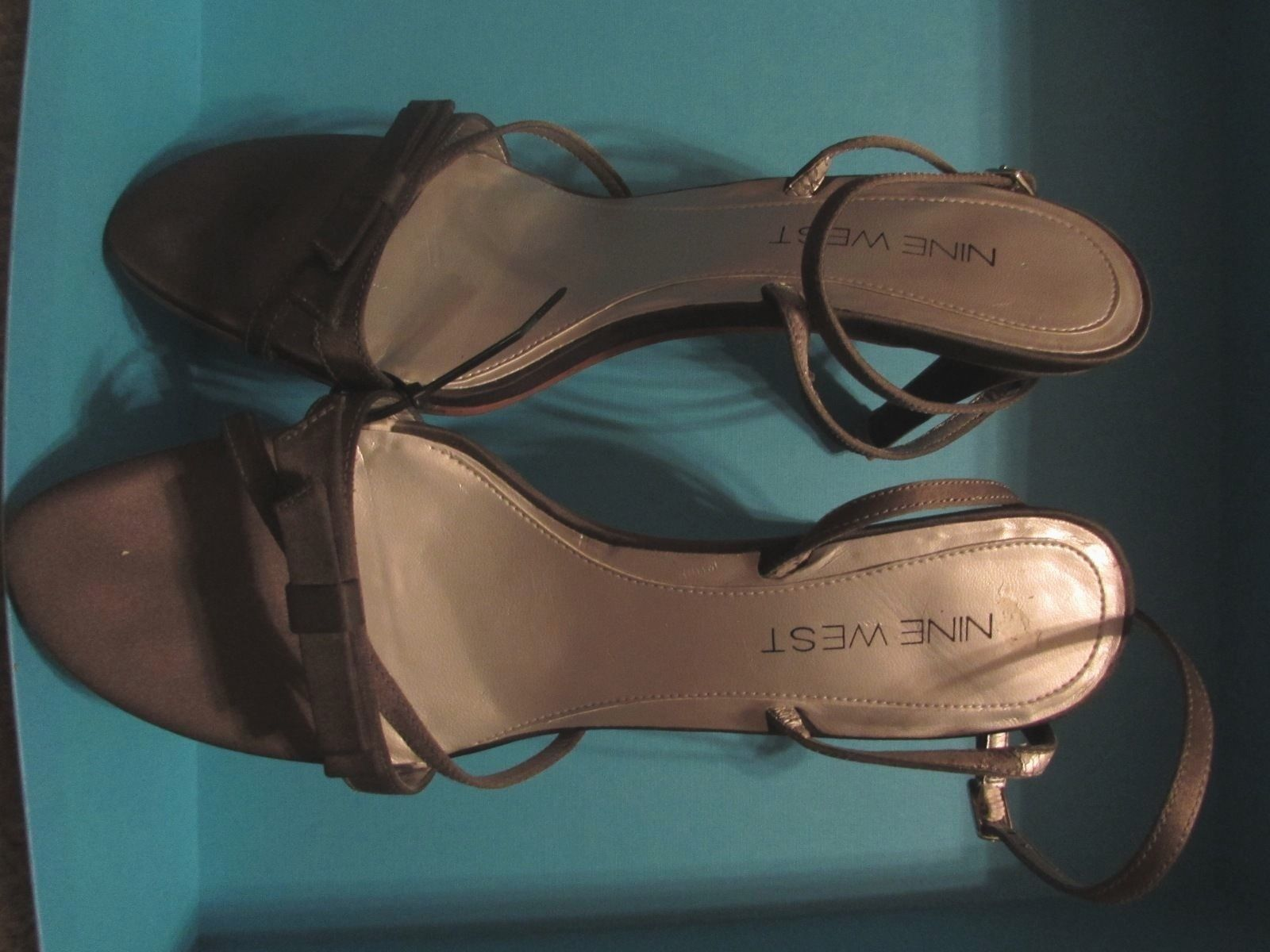 Nine West Sweetheart Satin Strappy Brown Fabric Sandals Women's Size 8.5 M