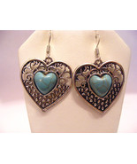 HEART SHAPED TURQUOISE CABOCHONS  AND  TIBETAN SILVER DANGLE PIERCED EAR... - $9.49