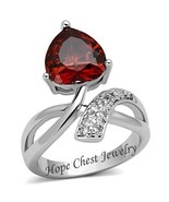 WOMEN'S SILVER TONE RED HEART TULIP FLOWER CZ FASHION RING SIZE 6, 7, 8, 9 - $13.39+
