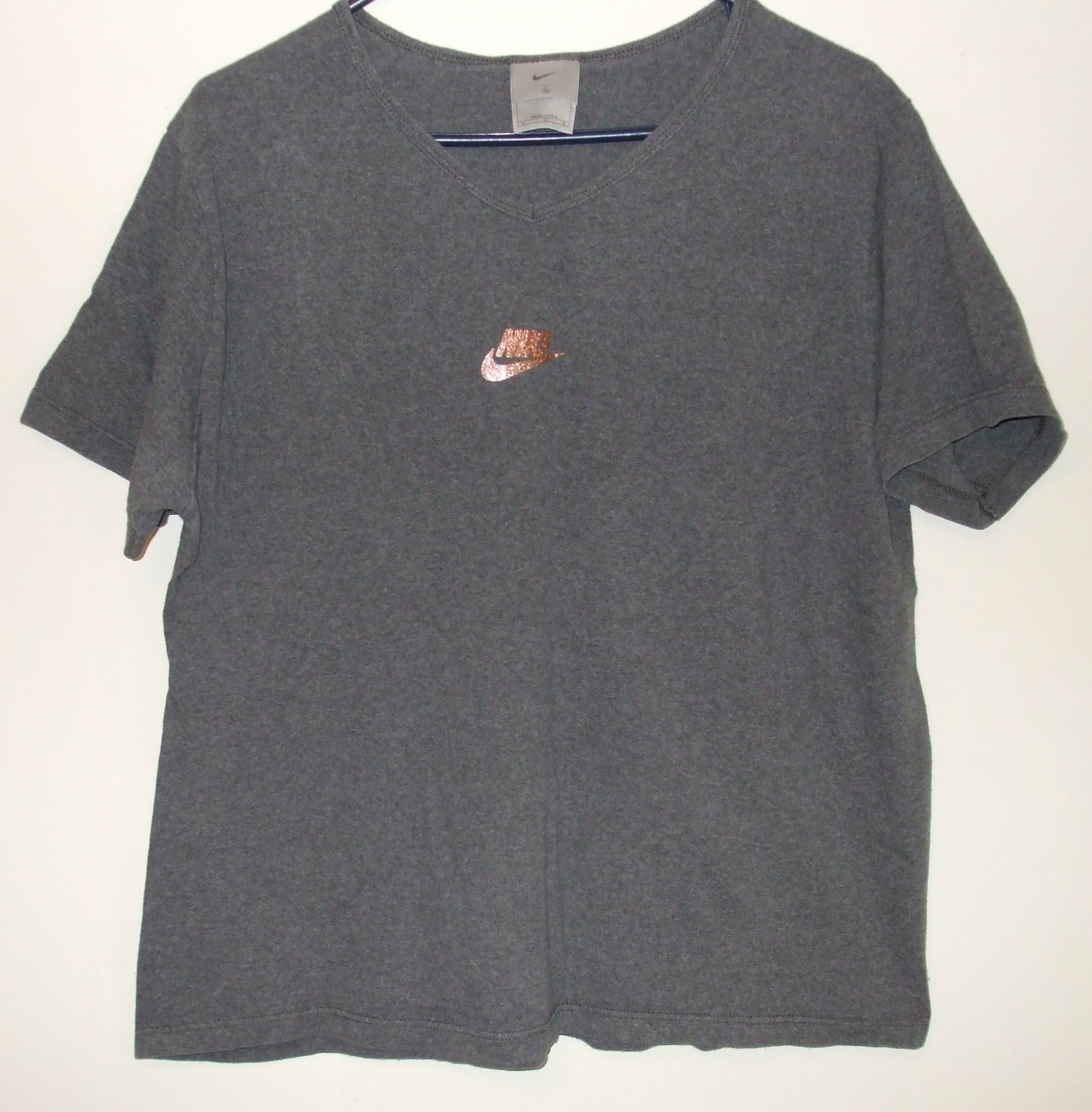 Womens Nike Dark Gray Short Sleeve V Neck Top  Size XL