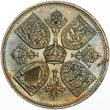 1953 UNITED KINGDOM 5 SHILLINGS CORONATION UNC GORGEOUS LUSTER TONED COL... - $197.99