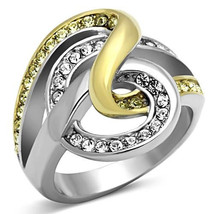 Stainless Steel Two Tone Crystal Swirl Fashion Cocktail Ring, Size 5,6  - $25.99