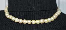 Sterling Silver .925 Pearl Bead Beaded Choker Necklace Vintage 9mm - $69.29
