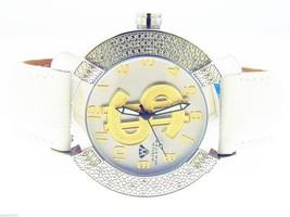 Aqua Master 45mm Round 20 Diamonds Watch white Band - $173.25