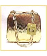 New Gold Evening Hand Bag Box Purse Handbag Vintage Nwt - $14.95