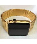 24K Gold Plated 42MM Apple Watch Series 2 Gold Link Band Custom Rare - $677.33