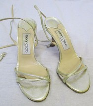 JIMMY CHOO Gold Metallic Strappy Sandals w/ Double Ankle Wrap & Buckle - 35 - $79.99