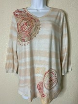 Zenergy By Chicos Womens Size 1 Pink Mandala Pattern Blouse V Neck 3/4 S... - $14.57