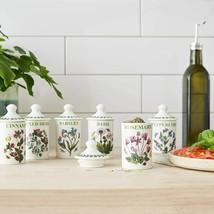 6 Pc Portmeirion Botanic Garden Spice Herb Jars W/Lids Nib Free Shipping - $49.49