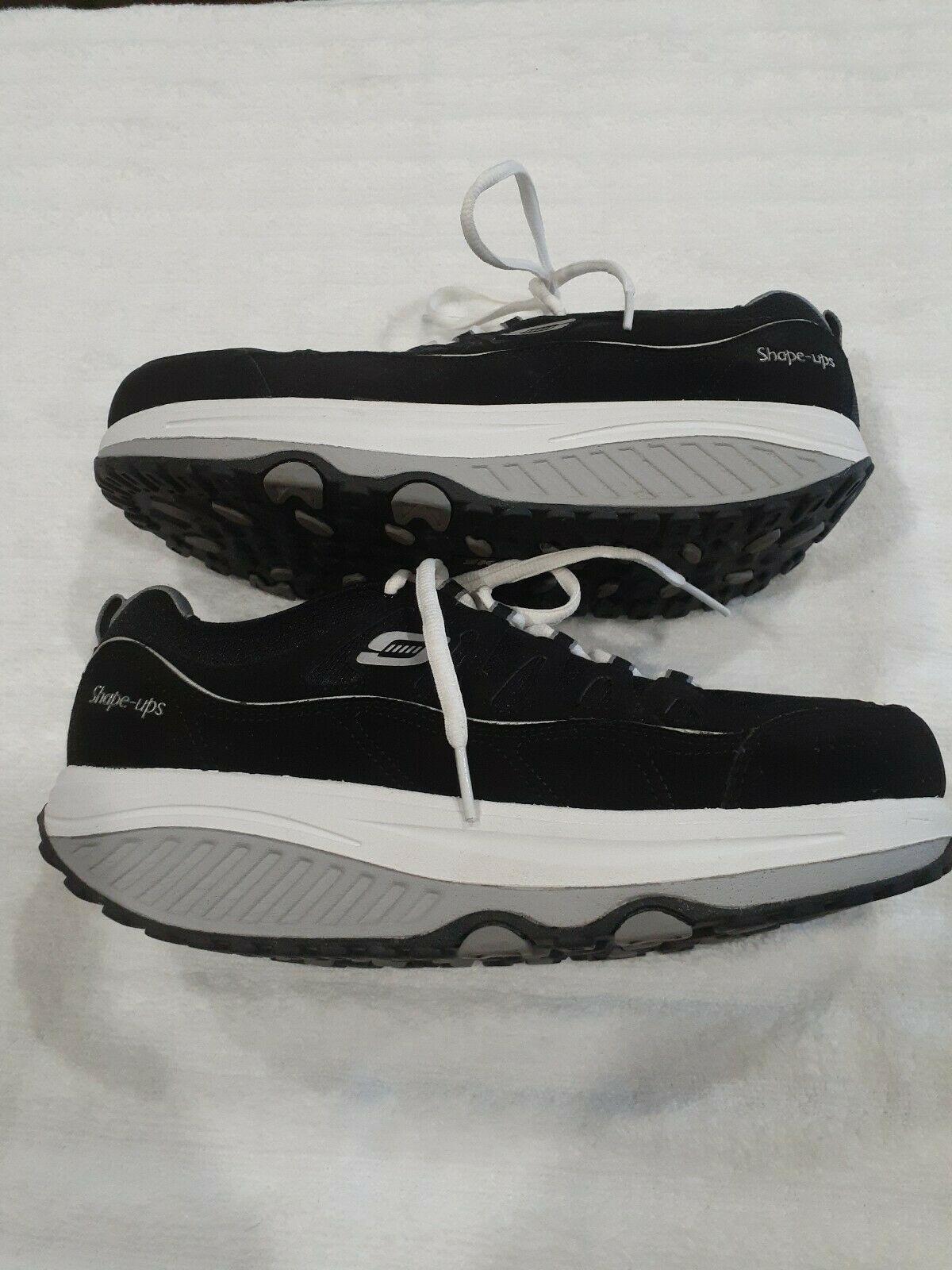 Womens Sz 9.5 M Skechers Shape-Ups Comfort Stride Shoes Sneakers Black & Silver image 3