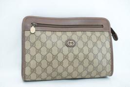 GUCCI GG Canvas PVC Leather Clutch Bag Brown Auth ar1159 **Powder - $160.00