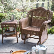 South Bay Traditional Brown Wicker Patio Glider Chair Outdoor Furniture New - $267.25