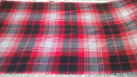 New Black Red & Gray Double Brush Plaid Fleece Fabric by the yard - $9.90