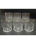 Crocus Pattern Clear Juice Glasses Set of 6 3.5 Inches Tall Great Condition - $34.99