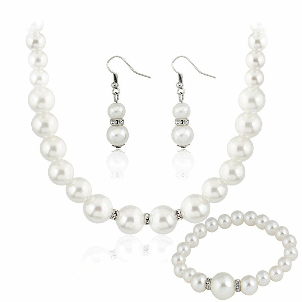 Jewelry Set Necklace Bracelet Earring Ring Sets Silver Free Shipping Faux Pearl