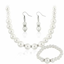 Jewelry Set Necklace Bracelet Earring Ring Sets Silver Free Shipping Fau... - $19.99