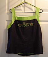 Womans SagHarbor Size 16 Black Lime Green Tank Sleeveless Embroidered Bl... - $24.99