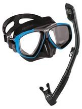Cressi Focus Snorkeling Dive Mask with 100% Dry Snorkel Set, Black Blue - $57.64
