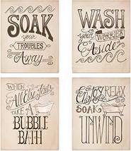 "Bathroom""Bubble-Bath Time"" Decoration Set- 4 Vintage Drawing Wall Prints- 8 x10"""