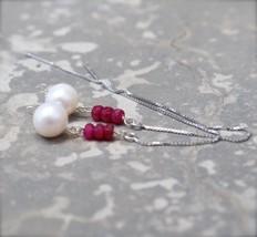 Ruby Earrings Thread Earrings Red Gemstone Earrings Long Chain Earrings Silver T - $25.99