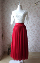 RED Full Tulle Skirts Women Tulle Maxi Skirt Red Wedding Bridesmaid Full Skirts image 3