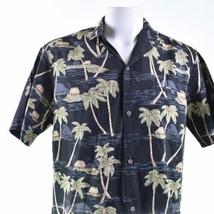 Royal Creations Large Vintage Palm Trees Huts Hawaiian Aloha Shirt - $29.69