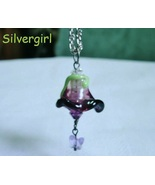 Handmade Lampwork Glass Crystal Flower Pendant Necklace - $12.99