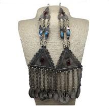 2x Pair Old Afghan Turkmen Tribal ATS Tassel Pendant Tribal German Silve... - $50.00