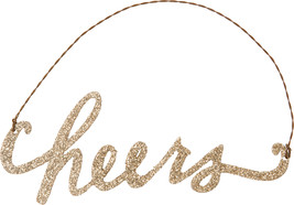 PBK New Years Decor - Cheers Gold Glitter Ornament - $7.95