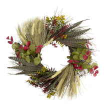 """Autumn Wheat and Eucalyptus with Feathers Grapevine Wreath - 22"""" - $113.95"""
