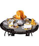 DOLLHOUSE Wire Garden Table w French Rose Tea Set Reutter 1.808/3 Miniature - $47.50