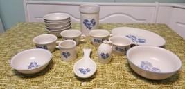 Lot 17 Pfaltzgraff Yorktown Cereal Bowls Gray Blue Flower cups utensil plate VTG - $65.42