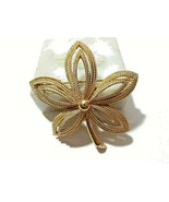 SIGNED CROWN TRIFARI BEADED FLORAL FLOWER PIN OPEN WORK MID CENTURY - $19.00