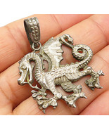 1 OF A KIND 925 Sterling Silver - Vintage Detailed Dragon Drop Pendant -... - $48.81